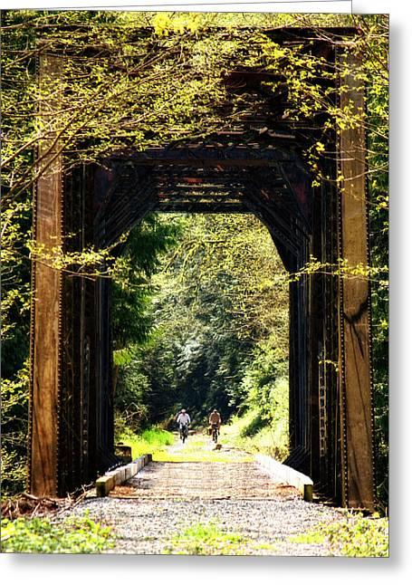 Walking Bridge Greeting Cards - Bicycling Across Old Train Bridge Greeting Card by Tracie Kaska