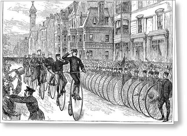 BICYCLIST MEETING, 1881 Greeting Card by Granger