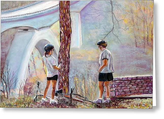 Nashville Tennessee Pastels Greeting Cards - Bicyclists On the Natchez Trace Greeting Card by George Grace