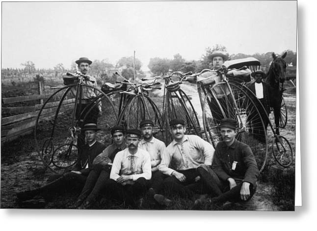 1880s Photographs Greeting Cards - BICYLE RIDERS, c1880s Greeting Card by Granger