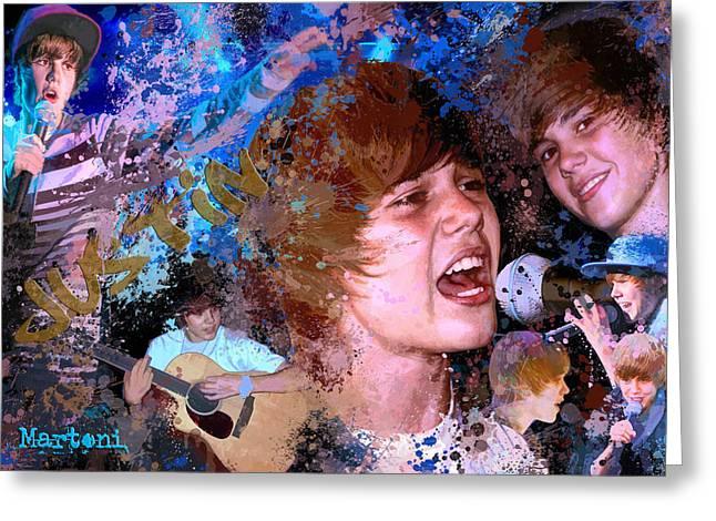 Justin Bieber Greeting Cards - Bieber Fever Tribute to Justin Bieber Greeting Card by Alex Martoni