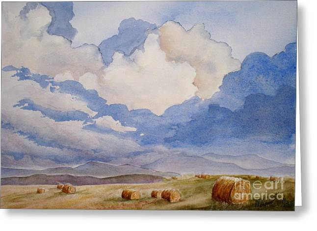 Bales Paintings Greeting Cards - Big Alberta Sky Greeting Card by Mohamed Hirji