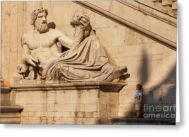 Figure Sculpture Greeting Cards - Big and Small Greeting Card by Brian Jannsen
