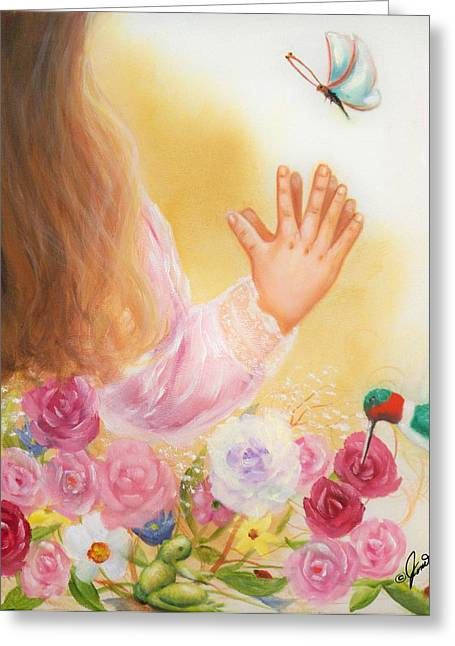 Girls Greeting Cards - Big and Small God Blessed Them All  Greeting Card by Joni McPherson