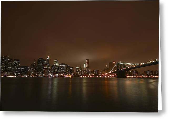 Bridge Greeting Cards - Big Apple Lights Greeting Card by Evelina Kremsdorf