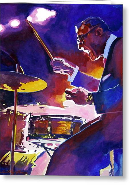 Singer Paintings Greeting Cards - Big Band Ray Greeting Card by David Lloyd Glover