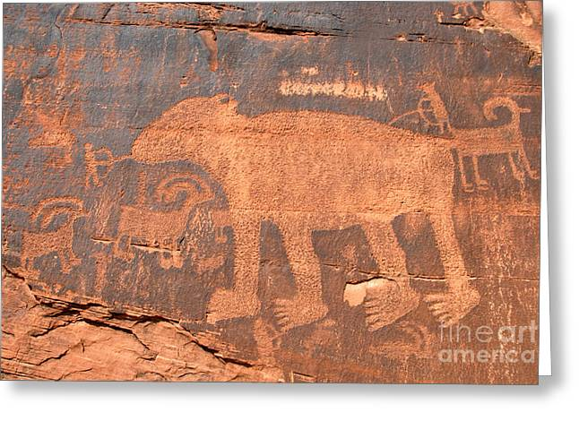 Petroglyph Greeting Cards - Big Bear Petroglyph Greeting Card by David Lee Thompson