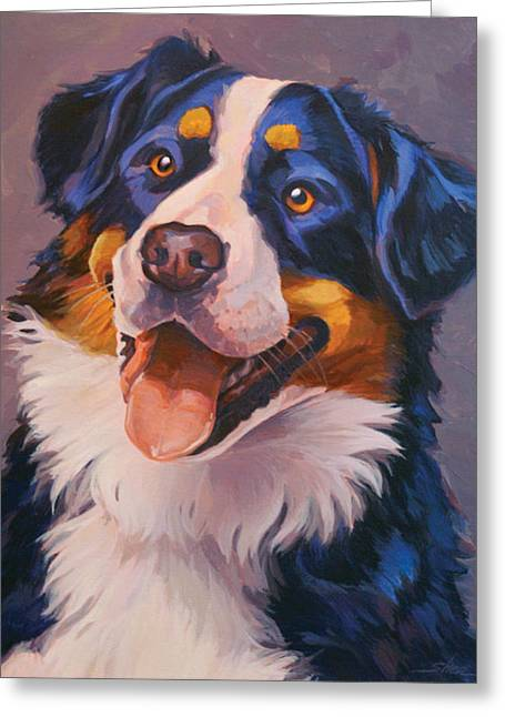 Swiss Paintings Greeting Cards - Big Beautiful Berner Greeting Card by Shawn Shea