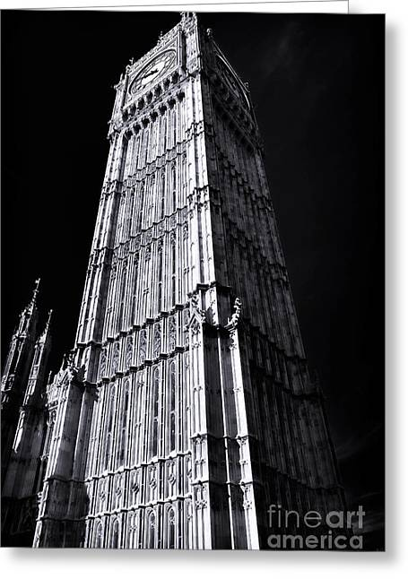 White Decor Posters Greeting Cards - Big Ben Angles Greeting Card by John Rizzuto