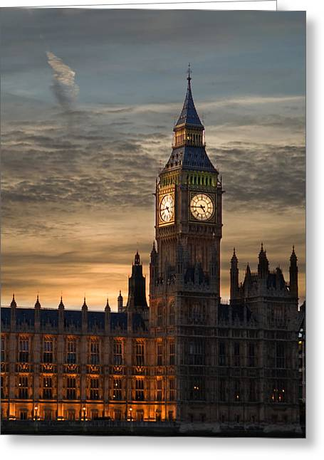 Martin Howard Greeting Cards - Big Ben at dusk Greeting Card by Martin Howard