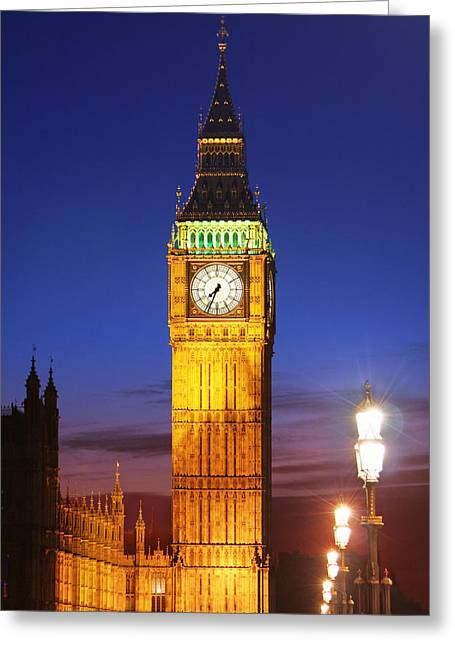 Night Lamp Greeting Cards - Big Ben at night Greeting Card by Dan Breckwoldt