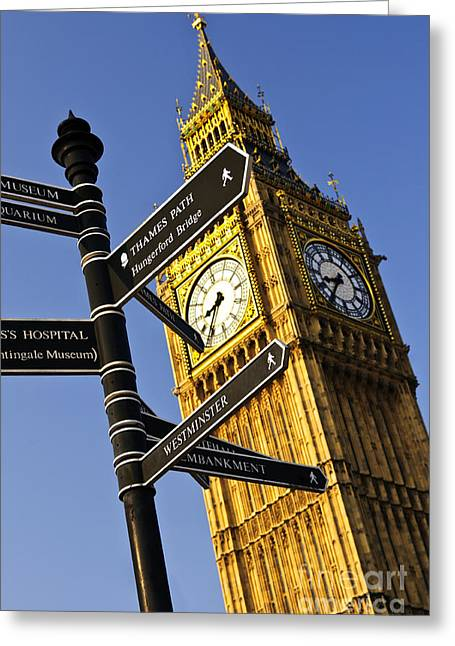 Clock Greeting Cards - Big Ben clock tower Greeting Card by Elena Elisseeva