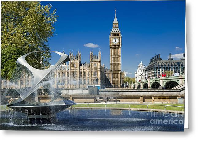 Bridge Of Flowers Greeting Cards - Big Ben Greeting Card by Donald Davis