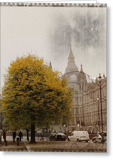 Old House Photographs Digital Greeting Cards - Big Ben in Autumn Greeting Card by Stefan Kuhn