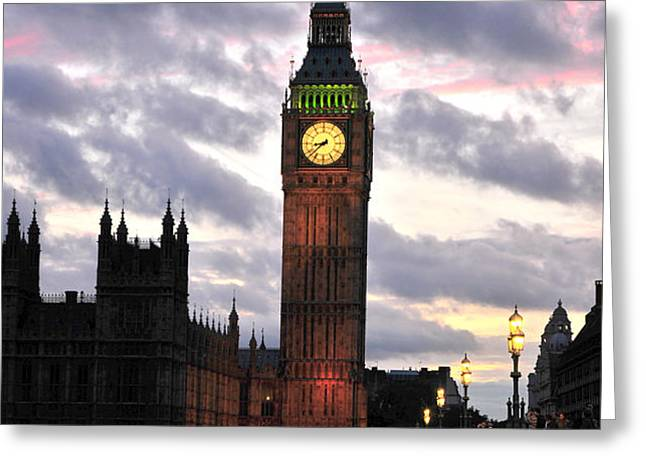 Big Ben Sunset Greeting Card by Jim Chamberlain