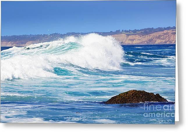 Big Blue Wave Breaks On La Jolla California's Pacific Coast Greeting Card by Susan McKenzie