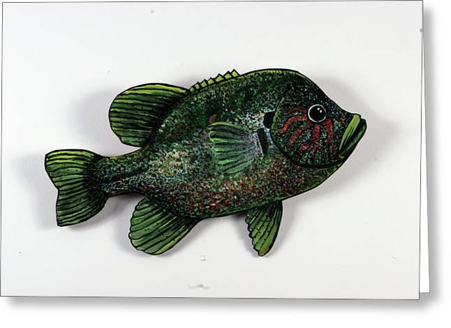 Bluegill Sculptures Greeting Cards - Big Bluegill Greeting Card by Bob Crawford