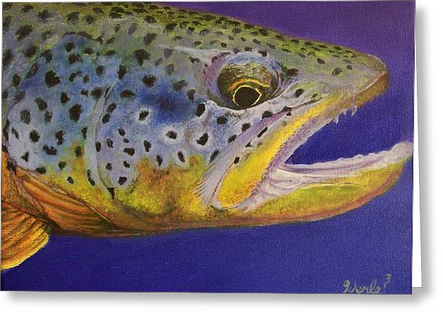 Trout Greeting Card Greeting Cards - Big Brown Greeting Card by Bill Werle
