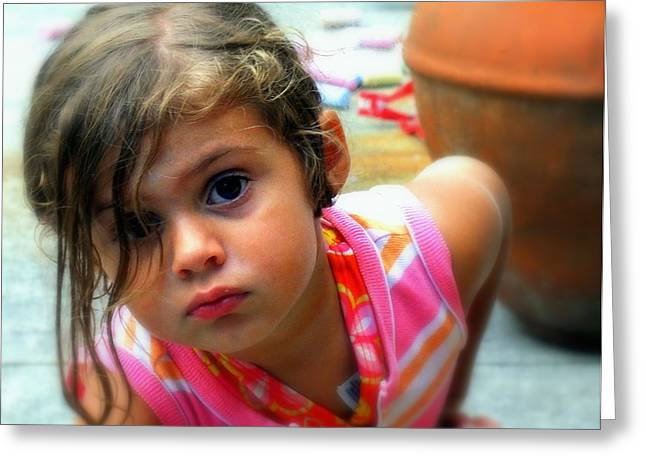 Innocence Child Greeting Cards - Big Brown Eyes Greeting Card by Karen Wiles