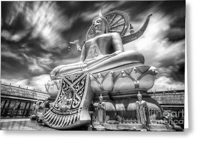 Sacred Spirit Art Photographs Greeting Cards - Big Buddha in Wat Phra Yai Temple Greeting Card by Anek Suwannaphoom