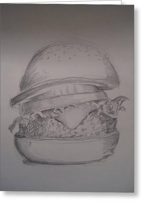 Hamburger Drawings Greeting Cards - Big Burger Greeting Card by Laurie Dellaccio