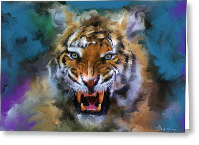 Haugesund Greeting Cards - Big Cat Dream Greeting Card by Michael Greenaway