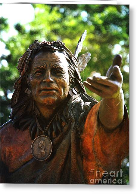 Native American Sculptures Photographs Greeting Cards - Big Chief Greeting Card by Susanne Van Hulst