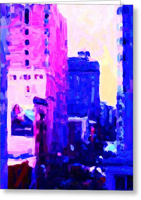Hyatt Hotel Greeting Cards - Big City Blues Greeting Card by Wingsdomain Art and Photography