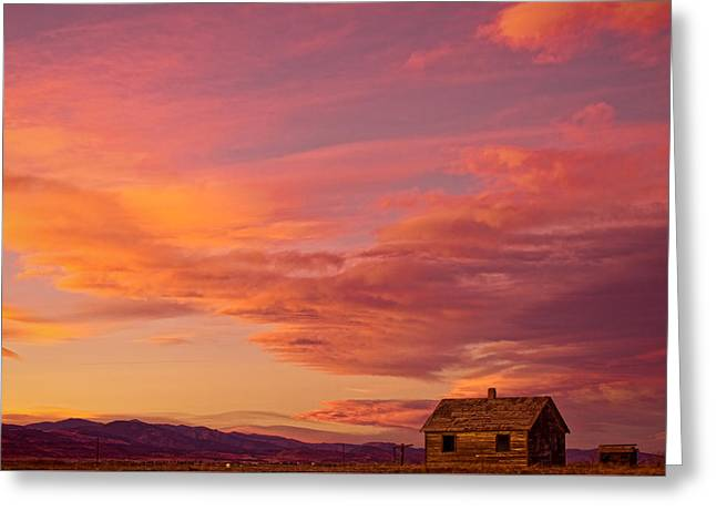 Prairie Sunset Landscape Art Print Greeting Cards - Big Colorful Colorado Sky and Little House On The Prairie Greeting Card by James BO  Insogna