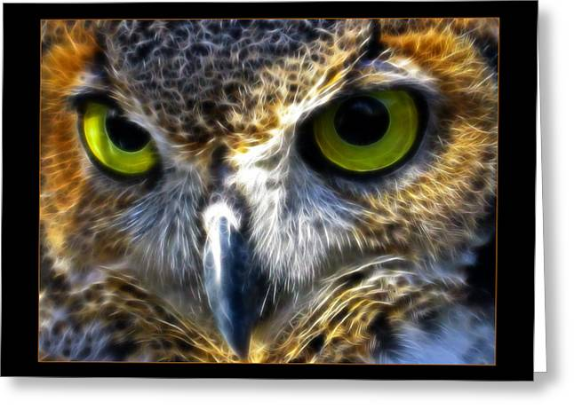 Unique Owl Greeting Cards - Big Eyes Greeting Card by Ricky Barnard
