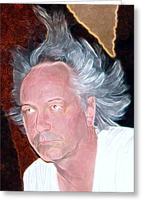 Self-portrait Photographs Greeting Cards - Big Hair Greeting Card by Ron Bissett