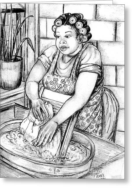 Washtubs Greeting Cards - Big Momma Greeting Card by Toni  Thorne
