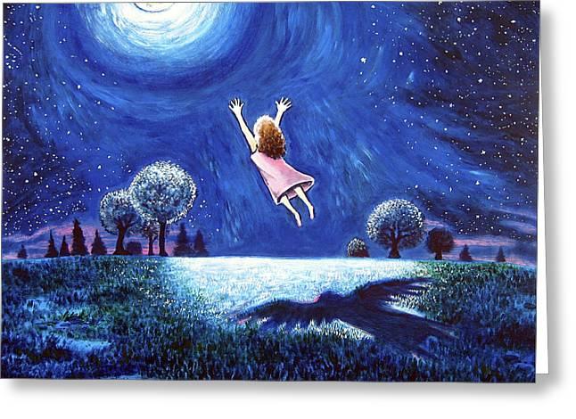 Night Angel Greeting Cards - Big Moon Hug Greeting Card by Jerry Kirk
