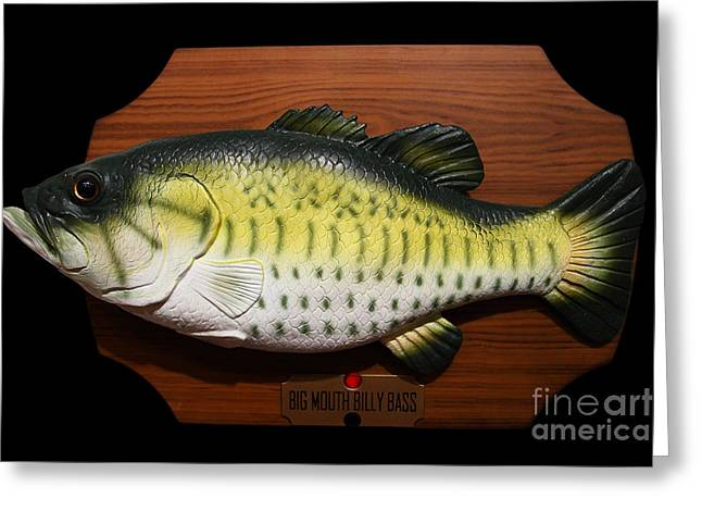 American Pastime Greeting Cards - Big Mouth Billy Bass . 7D13533 Greeting Card by Wingsdomain Art and Photography