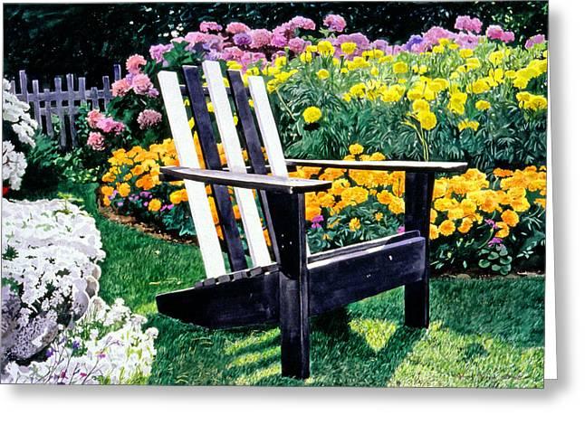 Adirondack Greeting Cards - Big Old Chair Evening Light Greeting Card by David Lloyd Glover