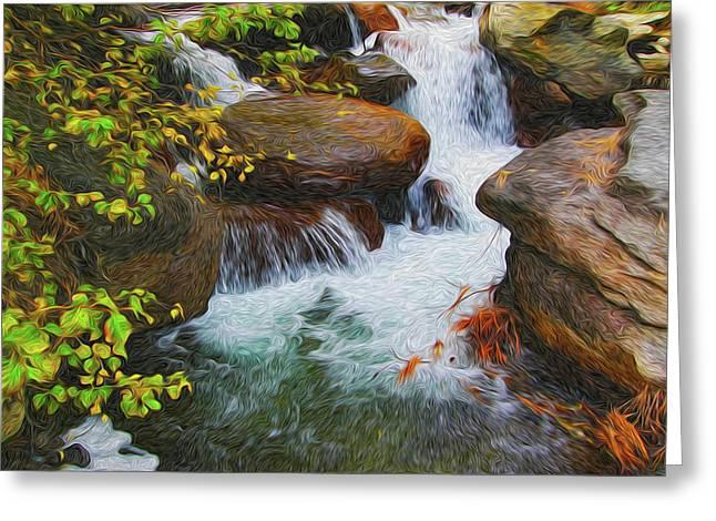 Brook Mixed Media Greeting Cards - Big Pine Creek Greeting Card by Eastern Sierra Gallery