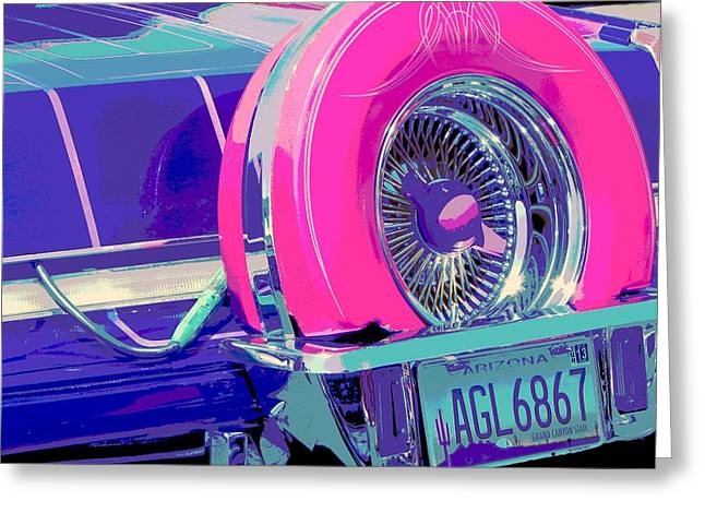 Tricked-out Cars Greeting Cards - Big Pink Greeting Card by Chuck Re