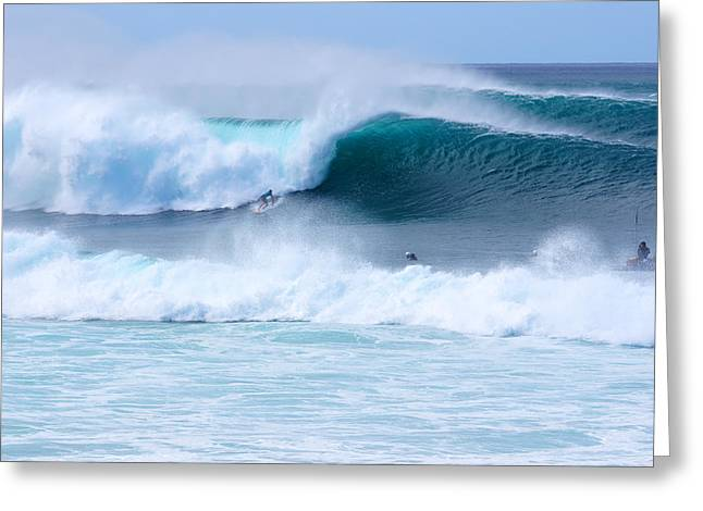 Surfing Contest Greeting Cards - Big Pipeline Pro Greeting Card by Kevin Smith