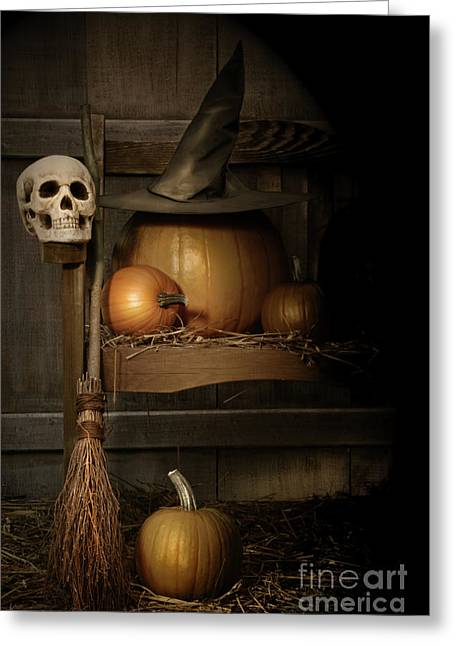 Broom Greeting Cards - Big pumpkin with black witch hat and broom Greeting Card by Sandra Cunningham