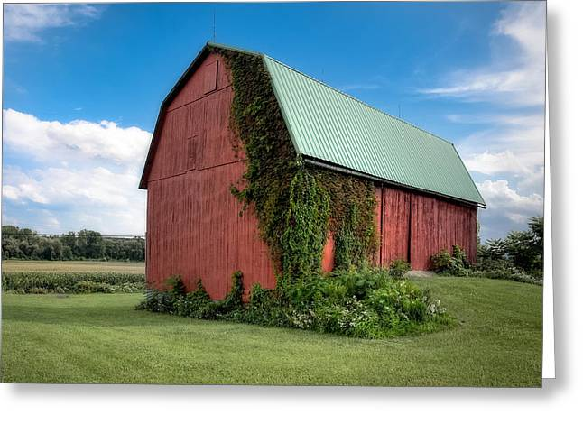 Lush Green Greeting Cards - Big Red Barn On Rt 227 Greeting Card by Gary Heller