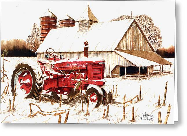 Winter Scenes Rural Scenes Mixed Media Greeting Cards - Big Red Greeting Card by Larry Johnson