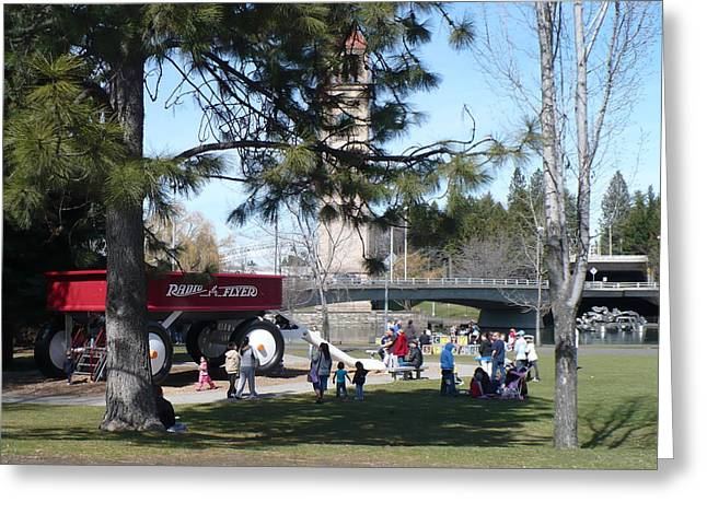Spokane Greeting Cards - Big Red Wagon in Riverfront Park Greeting Card by Carol Groenen