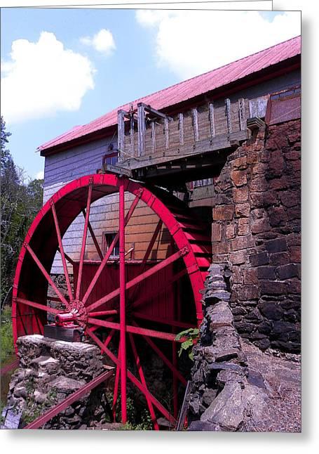 Big Red Wheel Greeting Card by Sandi OReilly