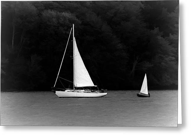 Sailboat Art Greeting Cards - Big Sailboat Little Sailboat Greeting Card by Tracie Kaska