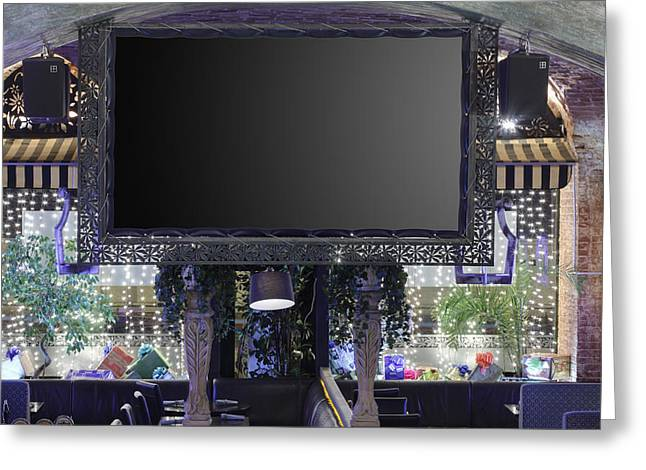 Communication Aids Greeting Cards - Big Screen In Restaurant Greeting Card by Magomed Magomedagaev