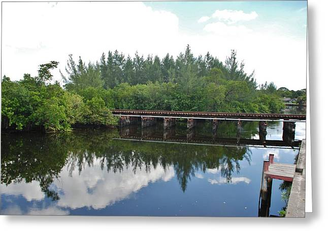 Big Sky And Docks On The River Greeting Card by Rob Hans