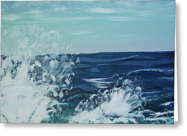 Stella Sherman Greeting Cards - Big Splash at Schoodic Point Greeting Card by Stella Sherman