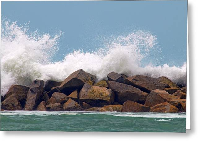 California Beach Greeting Cards - Big Splash Greeting Card by Dan Holm