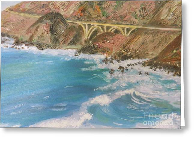 Bixby Bridge Paintings Greeting Cards - Big Sur bridge Greeting Card by Sunanda Chatterjee