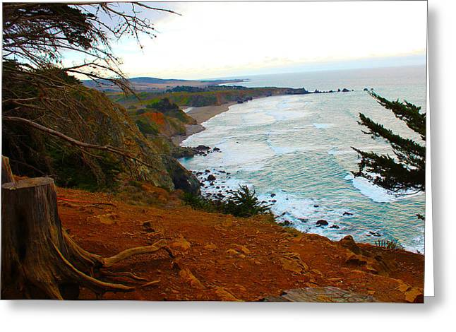 Big Sur Beach Greeting Cards - Big Sur Cliff Greeting Card by Ashley Geren